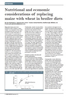 Nutritional And Economic Considerations Of Replacing Maize With Wheat In Broiler Diets